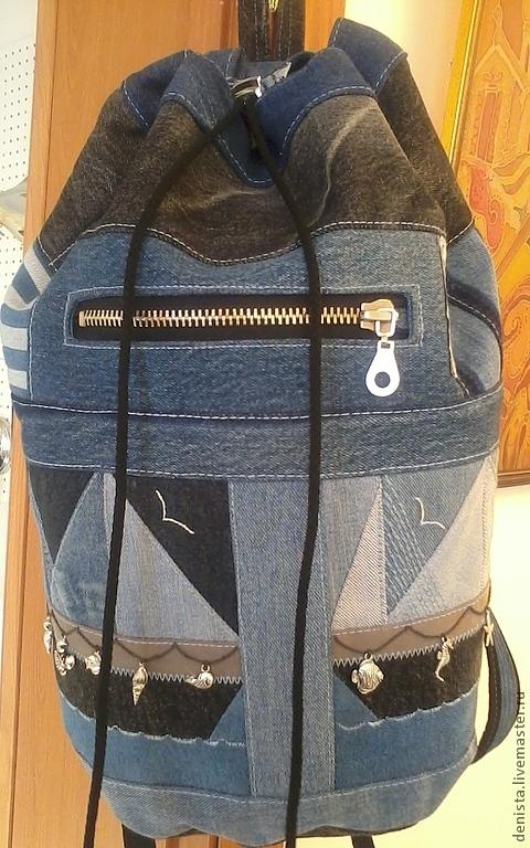 """Рюкзаки ручной работы. Ярмарка Мастеров - ручная работа. Купить Рюкзак джинсовый """"Морской"""". Handmade. Рюкзак, рюкзак с вышивкой, джинс"""