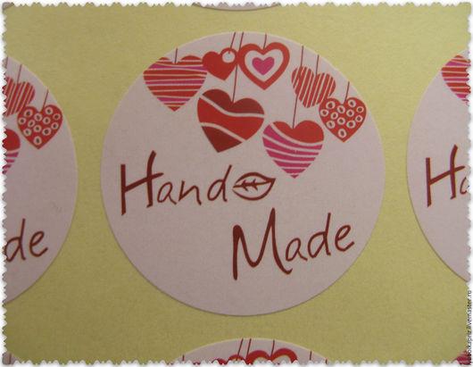 """Упаковка ручной работы. Ярмарка Мастеров - ручная работа. Купить Наклейка с сердечками """"Hand Made"""". Handmade. Упаковка для мыла, стикеры"""