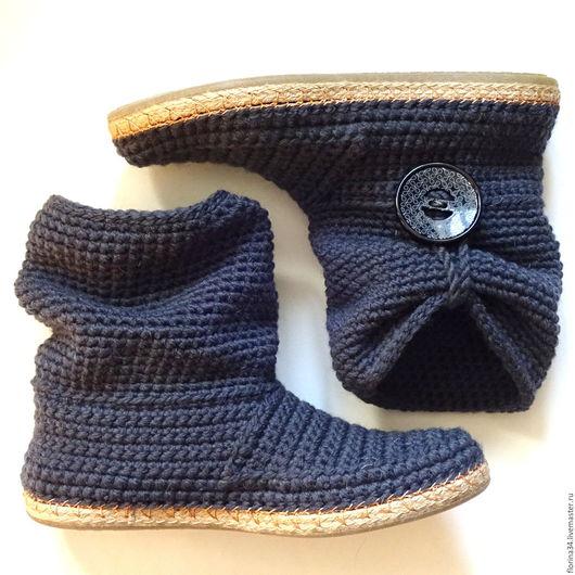 Обувь ручной работы. Ярмарка Мастеров - ручная работа. Купить Сапожки вязаные темно-серые, шерсть, р.40. Handmade.