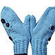 Варежки, митенки, перчатки ручной работы. Варежки голубые Хорошее настроение. Ольга (deni-tejedora). Интернет-магазин Ярмарка Мастеров.