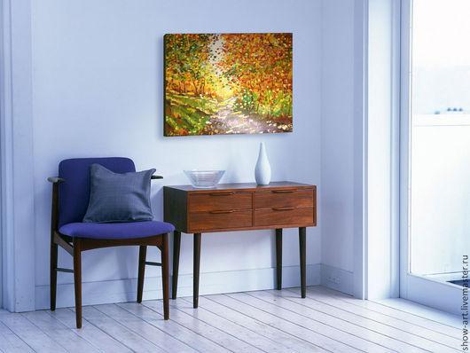 """Пейзаж ручной работы. Ярмарка Мастеров - ручная работа. Купить """"Осень"""". Handmade. Осень, оранжевый, буйство красок, модульные картины"""