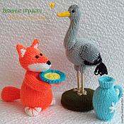 """Куклы и игрушки ручной работы. Ярмарка Мастеров - ручная работа """"Лиса и Журавль"""" вязаная сказка. Handmade."""