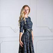 Одежда ручной работы. Ярмарка Мастеров - ручная работа Теплое шерстяное Платье в пол синяя шотландская клетка. Handmade.