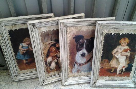 Животные ручной работы. Ярмарка Мастеров - ручная работа. Купить Картины 4 шт_20х30_ в  бело-коричневых багетах_Джек-Рассел PF0067. Handmade.