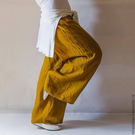 Брюки, шорты ручной работы. Ярмарка Мастеров - ручная работа. Купить Стильные брюки Горчица. Handmade. Летние брюки
