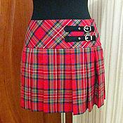 Одежда handmade. Livemaster - original item Cage skirt Plaid wool. Handmade.