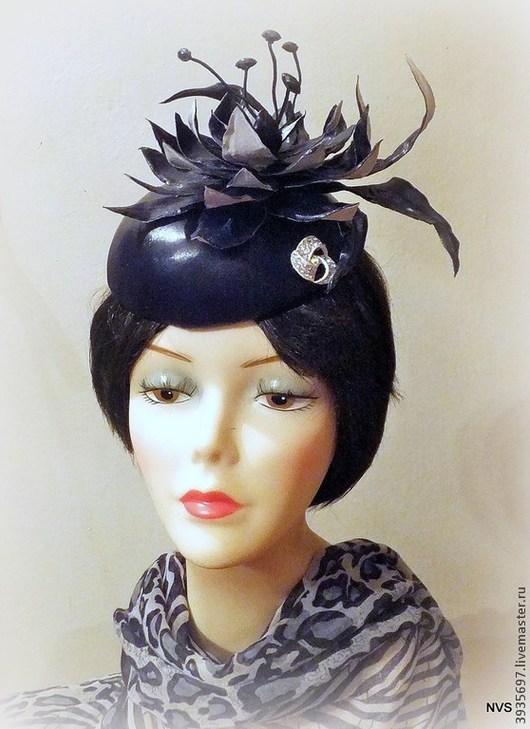 Шляпы ручной работы. Ярмарка Мастеров - ручная работа. Купить шляпка таблетка с лилией. Handmade. Черный, шляпка с цветком