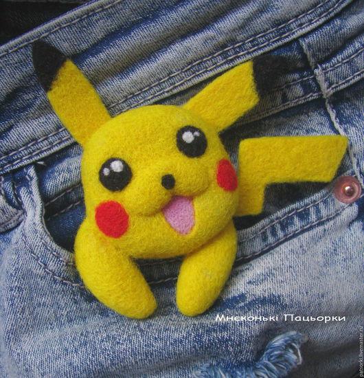 Купить Брошь Покемон Пикачу - валяная брошка из шерсти ручной работы. Пикачу, Покемон, Покемон Го, Покемон Гоу, Аниме, Желтый, Покемоны, Pikachu, Pokemon, Pokemon Go, Anime, Toy, Handmade, Brooch
