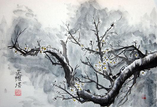 Картины цветов ручной работы. Ярмарка Мастеров - ручная работа. Купить Слива во мгле Китайская живопись. Handmade. Голубой