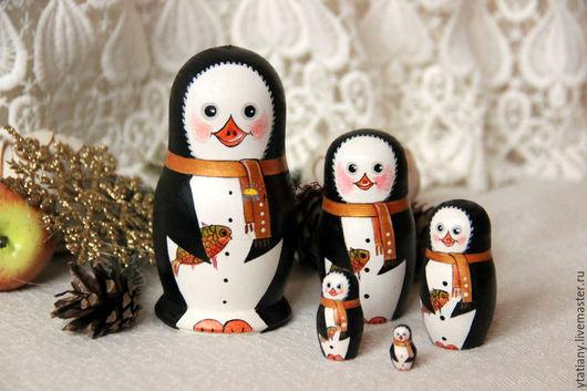 Новый год 2017 ручной работы. Ярмарка Мастеров - ручная работа. Купить Пингвин-матрешка 5 в 1. Handmade. Пингвин