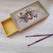 "Для дома и интерьера handmade. Livemaster - original item Шкатулка - спичечный коробок ""Анютины глазки"". Handmade."