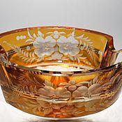 Винтаж handmade. Livemaster - original item ashtray colour yellow amber colored glass bohemian haida, 1920s. Handmade.