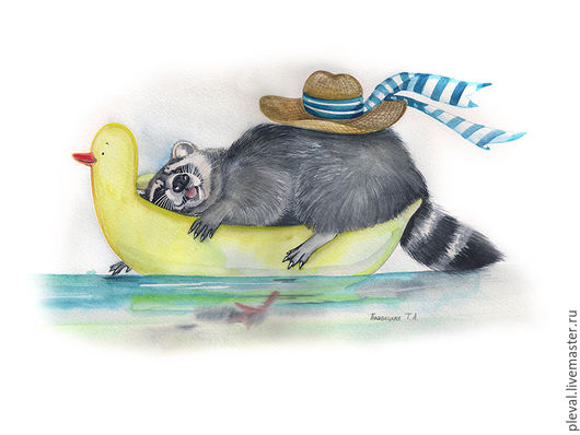 Животные ручной работы. Ярмарка Мастеров - ручная работа. Купить Картина акварелью с енотом Сбылась мечта енота о море. Handmade.