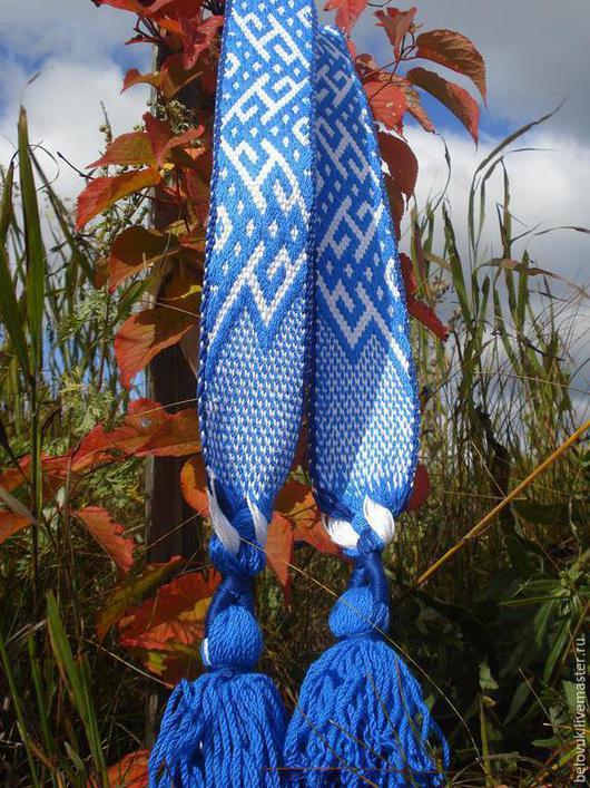 Ткачество ручной работы. Ярмарка Мастеров - ручная работа. Купить Богиня Макошь - тканый пояс бело-синий. Handmade. Тесьма