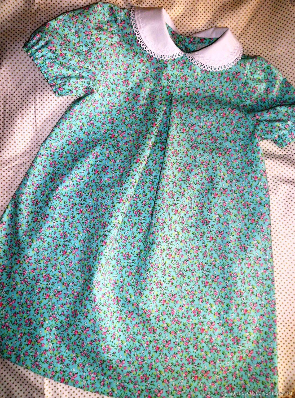 """Платье с воротничком для девочки  """" С перламутровыми пуговицами"""""""