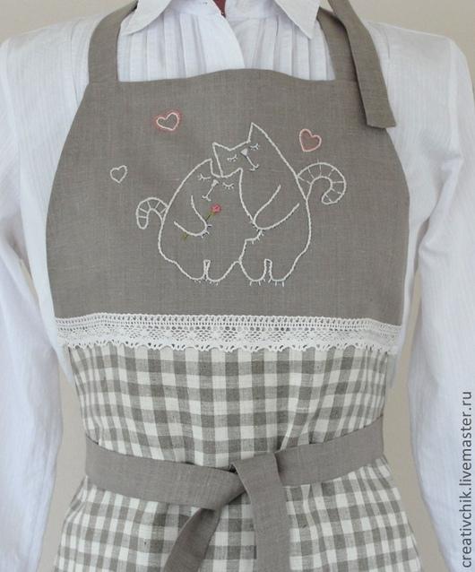 Кухня ручной работы. Ярмарка Мастеров - ручная работа. Купить Фартук для кухни Влюбленные коты. Handmade. Подарок на 8 марта