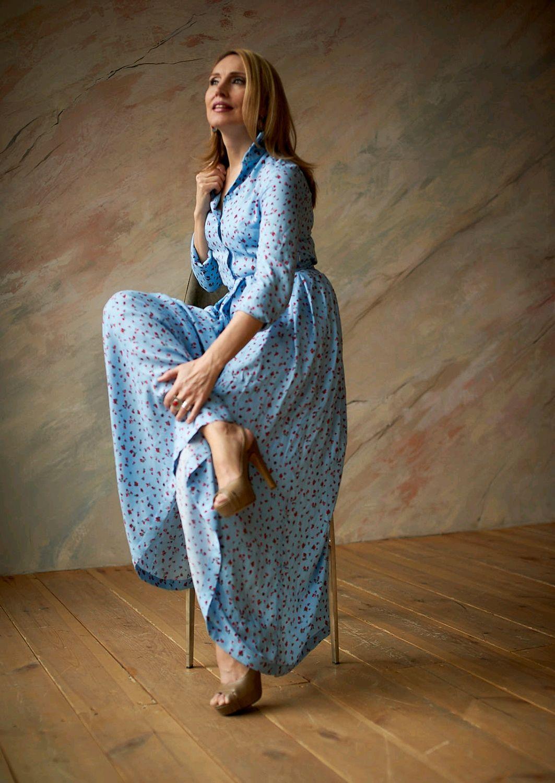 Shirt dress 'Provence on blue', Dresses, Moscow,  Фото №1
