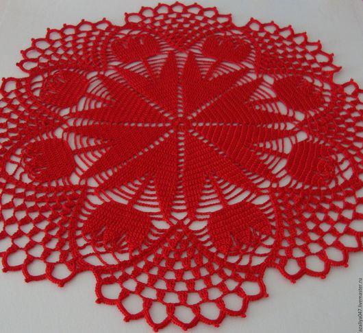 """Текстиль, ковры ручной работы. Ярмарка Мастеров - ручная работа. Купить Салфека связанная крючком """"Тюльпаны"""". Handmade. Салфетка, тюльпаны"""