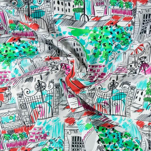 """Шитье ручной работы. Ярмарка Мастеров - ручная работа. Купить Итальянская ткань, хлопок 100%, """"Город"""". Handmade. Комбинированный, италия"""