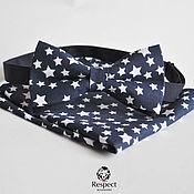 Аксессуары ручной работы. Ярмарка Мастеров - ручная работа Темно синяя галстук бабочка Звезды + нагрудный платок. Handmade.