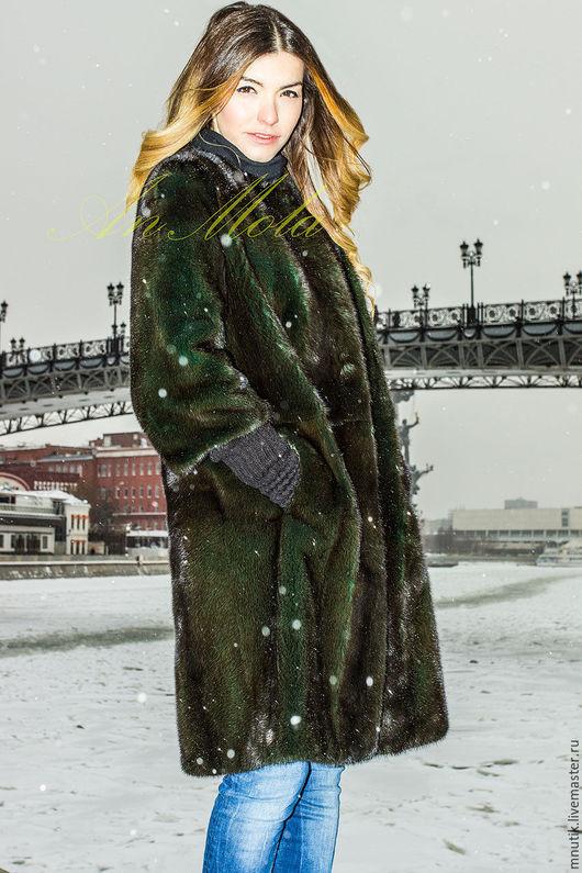 Верхняя одежда ручной работы. Ярмарка Мастеров - ручная работа. Купить норковое пальто. Handmade. Тёмно-зелёный, зимняя мода