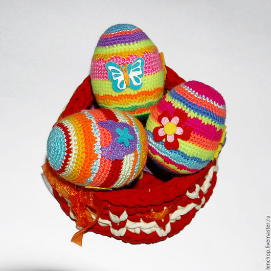 Яйца ручной работы. Ярмарка Мастеров - ручная работа. Купить Пасхальная корзиночка. Вязаный пасхальный сувенир. Handmade. Комбинированный
