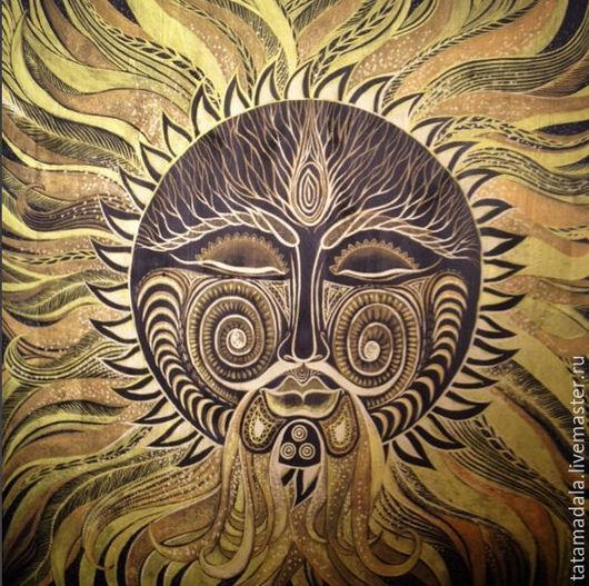 Этно ручной работы. Ярмарка Мастеров - ручная работа. Купить Солнце. Handmade. Золотой, свет, родителям, панно, сила, защита