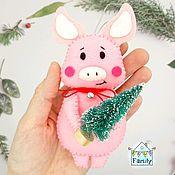 Сувениры и подарки handmade. Livemaster - original item Felt pig-the symbol of 2019. Pig. Handmade.