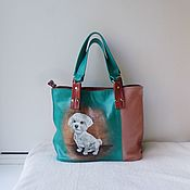 Сумки и аксессуары handmade. Livemaster - original item Double-sided leather bag with custom-made painting for Natalia.. Handmade.