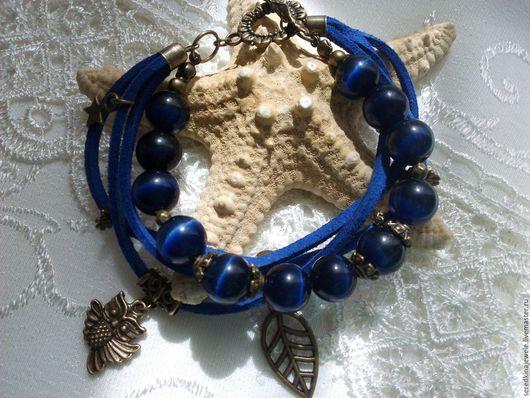 """Браслеты ручной работы. Ярмарка Мастеров - ручная работа. Купить Браслет """"Синий филин"""". Handmade. Тёмно-синий, браслет"""