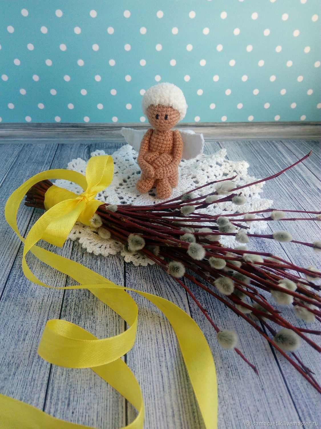 Knitted toy Pensive angel, Miniature figurines, Rybinsk,  Фото №1