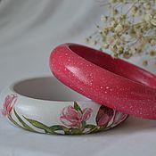 """Украшения ручной работы. Ярмарка Мастеров - ручная работа Комплект браслетов """"Тюльпаны """" Розово-серый. Handmade."""