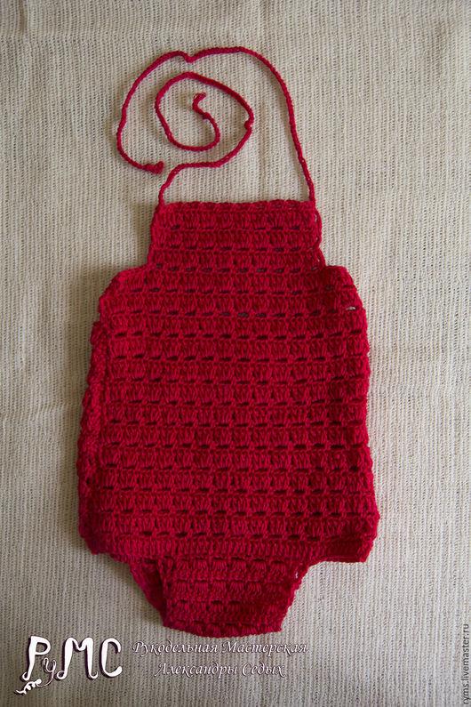 """Для новорожденных, ручной работы. Ярмарка Мастеров - ручная работа. Купить Боди для новорожденной """"Ягодка"""". Handmade. Ярко-красный, крючок"""