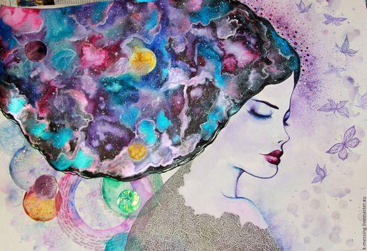 Фантазийные сюжеты ручной работы. Ярмарка Мастеров - ручная работа. Купить Cosmic Muse (акварель). Handmade. Другие миры, галактика