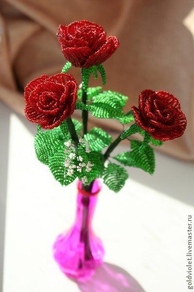 Цветы ручной работы. Ярмарка Мастеров - ручная работа. Купить Цветы из бисера. Розы.. Handmade. Цветы из бисера, бисерные цветы