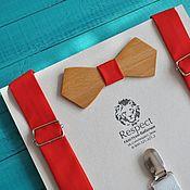 Аксессуары ручной работы. Ярмарка Мастеров - ручная работа Деревянная бабочка галстук Ретро + ярко красные подтяжки. Handmade.