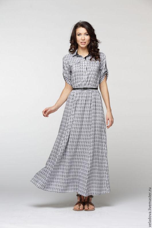 """Платья ручной работы. Ярмарка Мастеров - ручная работа. Купить Платье рубашка из вискозы """" Монохром"""". Handmade. Чёрно-белый"""