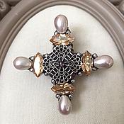 Украшения handmade. Livemaster - original item Brooch - cross with pearls and Swarovski crystals. Handmade.