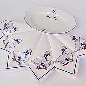"""Для дома и интерьера handmade. Livemaster - original item Салфетка с вышивкой """"Гуси"""". Handmade."""