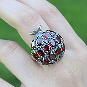 Украшения handmade. Livemaster - original item Garnet ring with garnets made of 925 GA0047 silver. Handmade.