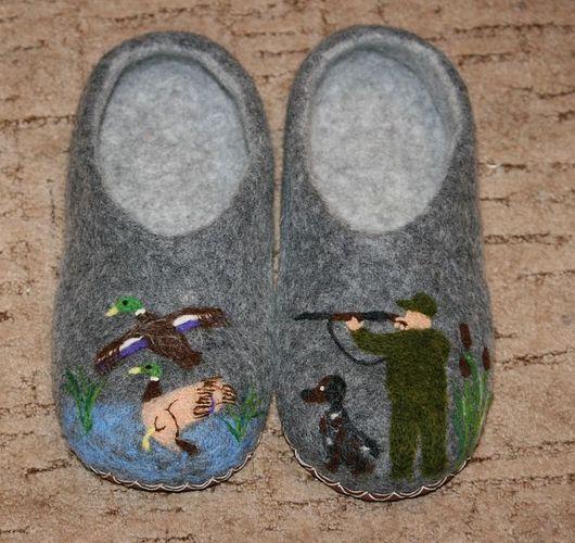 """Обувь ручной работы. Ярмарка Мастеров - ручная работа. Купить Домашние тапочки """"Сезон охоты"""". Handmade. Охота, тапки"""