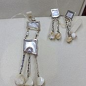handmade. Livemaster - original item Silver set with mother of pearl and shells.. Handmade.