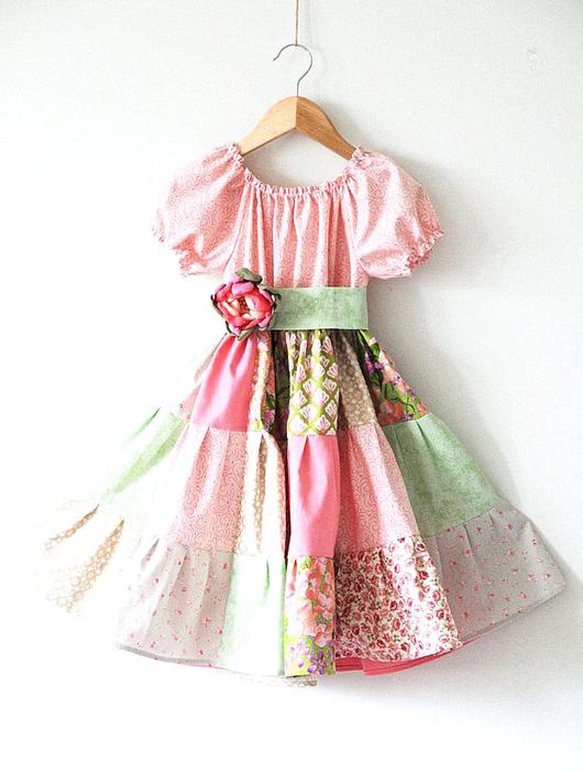 """Одежда для девочек, ручной работы. Ярмарка Мастеров - ручная работа. Купить Платье для девочки """"Апрель"""". Handmade. Кремовый, розовый, салатовый"""