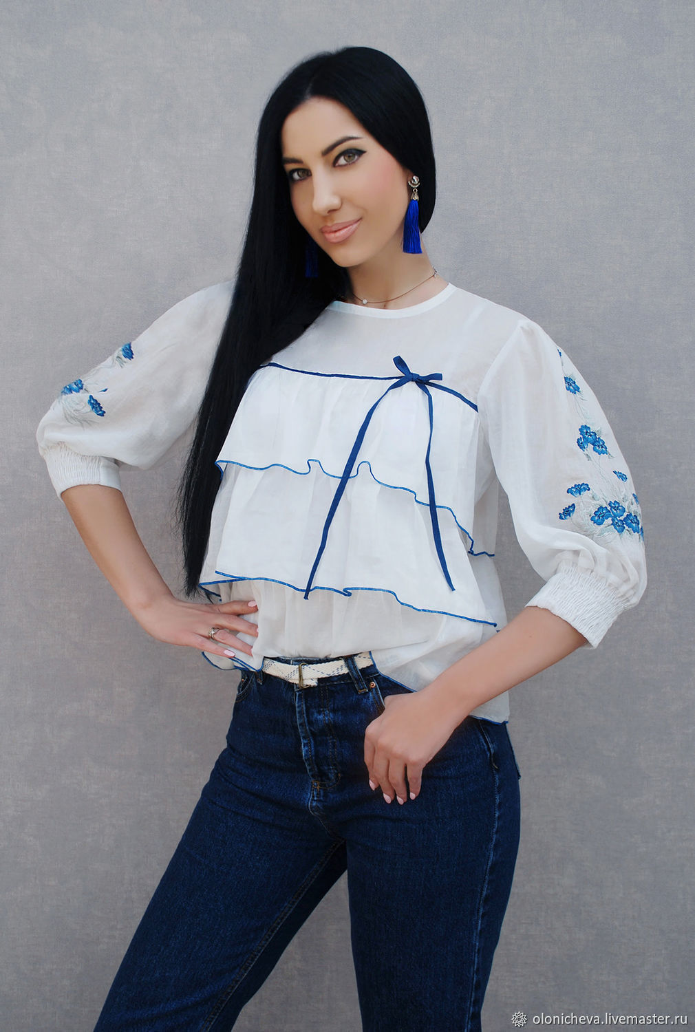 a6efe20b0ec ... embroidered shirt Blouses handmade. White blouse with hand embroidered  forget-me-nots embroidered shirt.