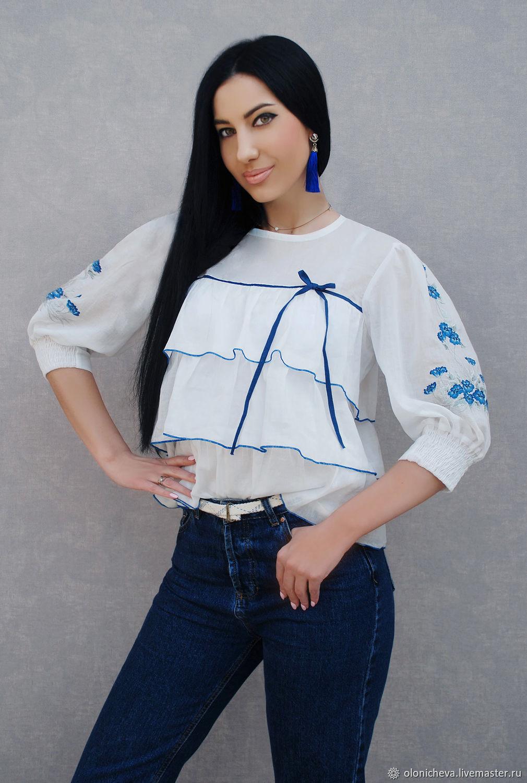 5bf9a8da3ab KVITKA · Блузки ручной работы. Белая блузка с ручной вышивкой  Незабудки   вышиванка.