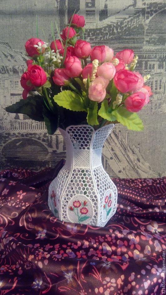 """Вазы ручной работы. Ярмарка Мастеров - ручная работа. Купить Ваза """" Нежность цветов"""". Handmade. Белый, Машинная вышивка"""