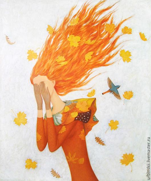 Символизм ручной работы. Ярмарка Мастеров - ручная работа. Купить Осень плачет (вариант). Handmade. Рыжая, девушка, белый, коричневый
