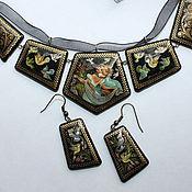 Украшения handmade. Livemaster - original item Set of women`s jewelry with hand-painted