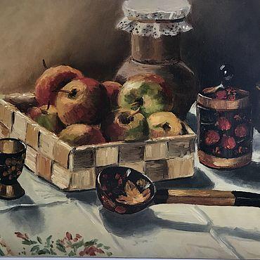 """Картины и панно ручной работы. Ярмарка Мастеров - ручная работа Картина """"Яблоки и хохлома"""". Handmade."""