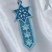 Канцелярские товары handmade. Livemaster - original item Bookmark for books embroidered Oriental two-tone bookmark. Handmade.
